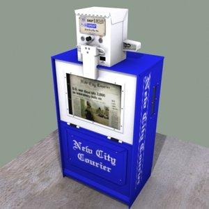 newspaper stand 3d max