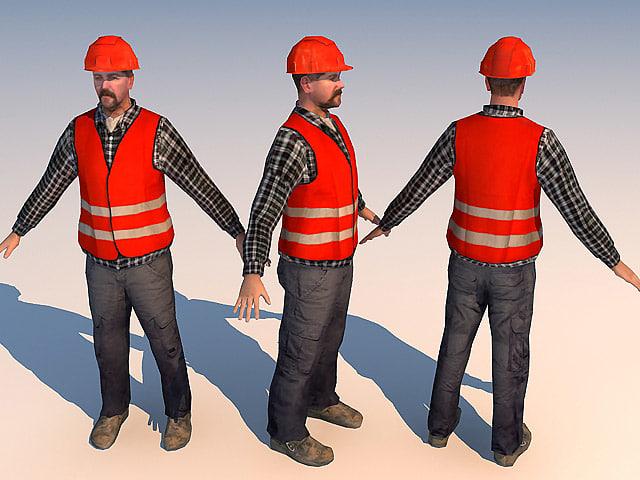 worker 01 3d model