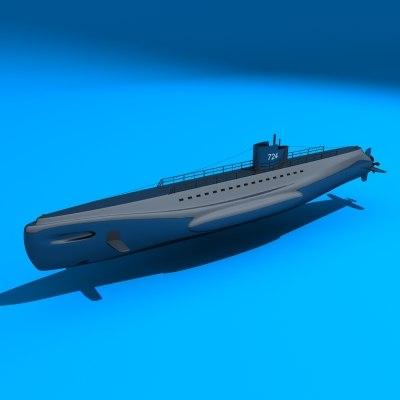 submarine marine 3d model