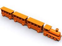 free zipped toy train rainbowexpress 3d model