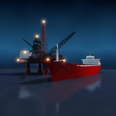 3d oilrig oil tanker