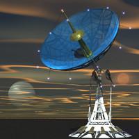radar sci-fi dish 3d model