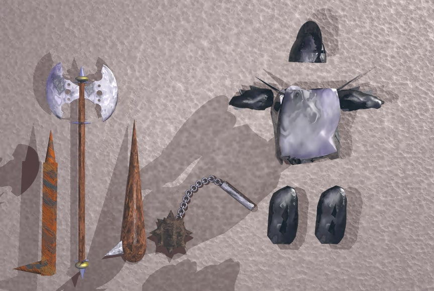 armor weapons 3d 3ds