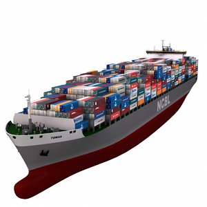 3d container vessel cargo model