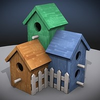3d model of wood birdhouse