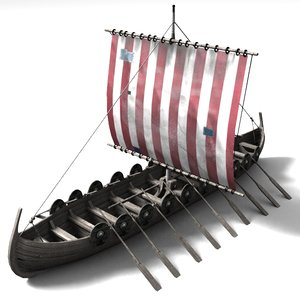 3d model boat viking