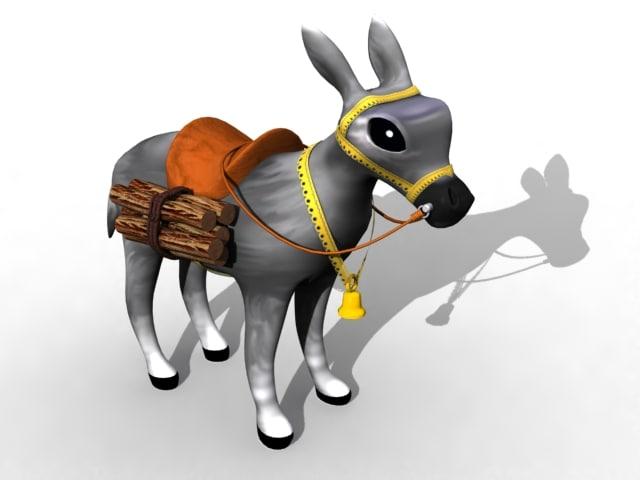free zipped donkey 3d model
