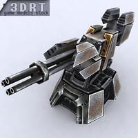 3d 3ds sci-fi turret