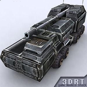3d model sci-fi artillery vehicle