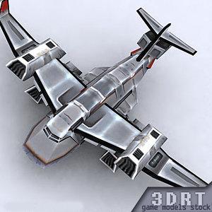 3d sci-fi bomber aircraft s