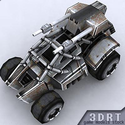 3d sci-fi jeep model