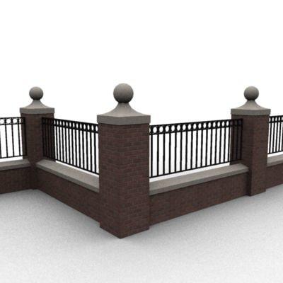 wall railing 3d model