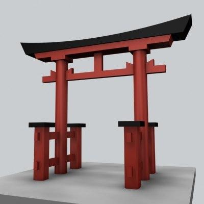 shrine gate japan 3d max