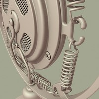 art deco microphone mic 3d model