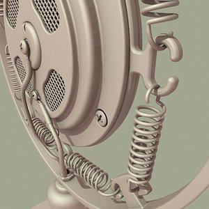 art deco microphone mic 3d model
