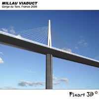 millau viaduct gorge du 3d model