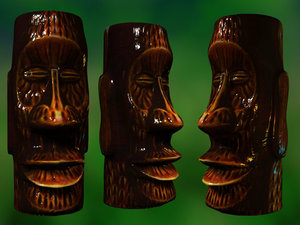 ceramic tiki mug 3d lwo