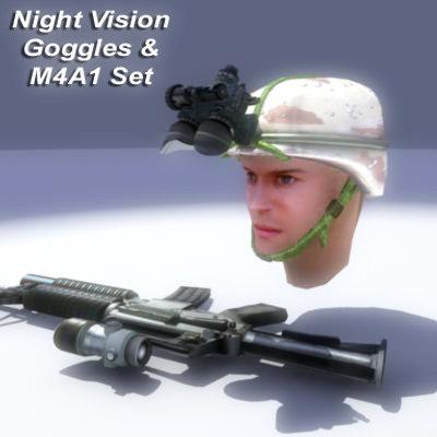 m4a1 rifle set 3d model