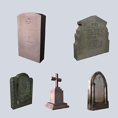 grave stones 3d model