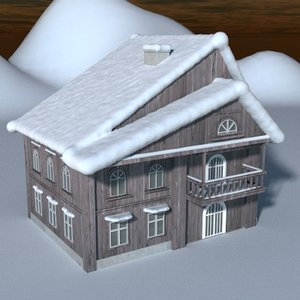 3dsmax house snow