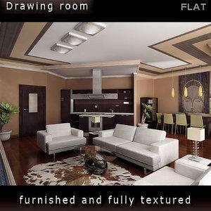 interior furniture includes 3d model