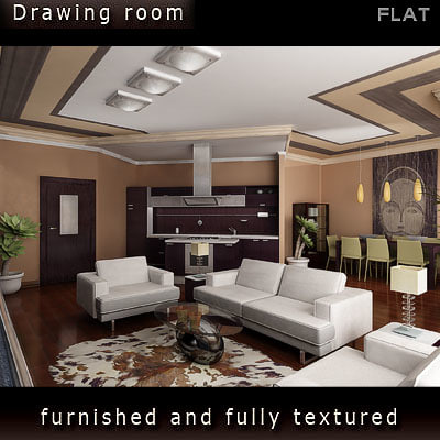 interior furniture includes 3d model