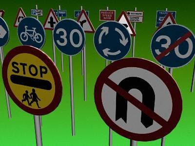 3d model uk road traffic signs