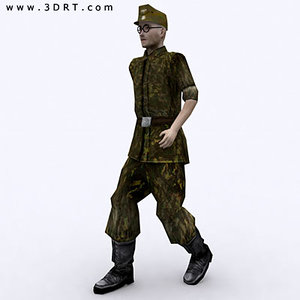 3d world war german soldier model