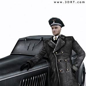 world war german soldier 3d model