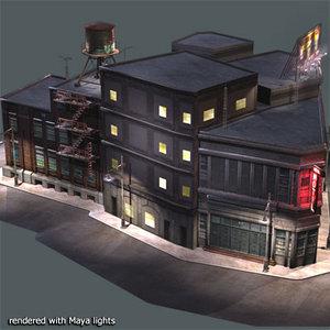 3d city block buildings