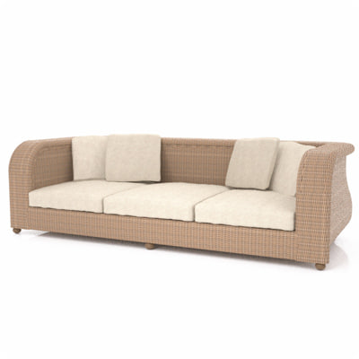 rattan sofa seat 3d model