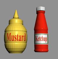3d max ketchup mustard bottles