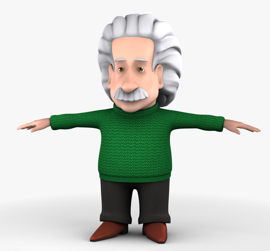 einstein cartoon human 3d model