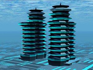 3d model science fiction building