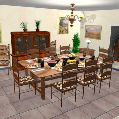 navajo style dining room 3d max