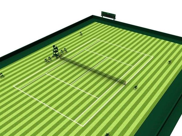 tennis court rackets o 3d model