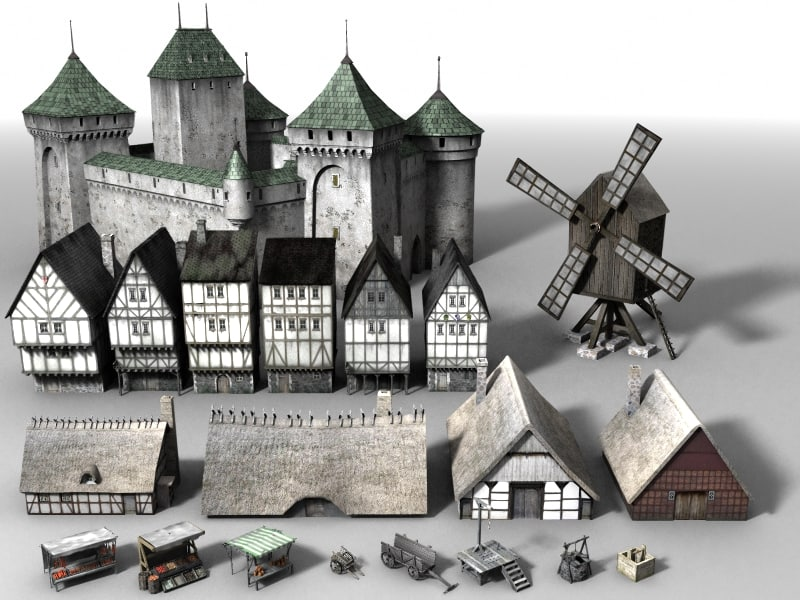 castle houses 3d model