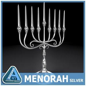 silver menorah 3d 3ds