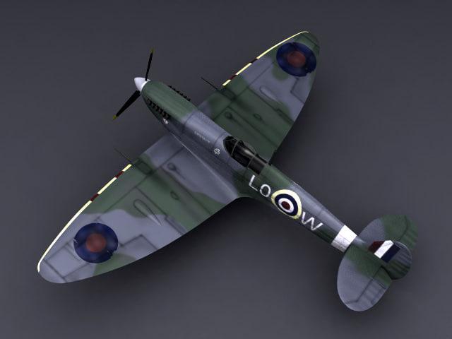 world war supermarine spitfire 3d model