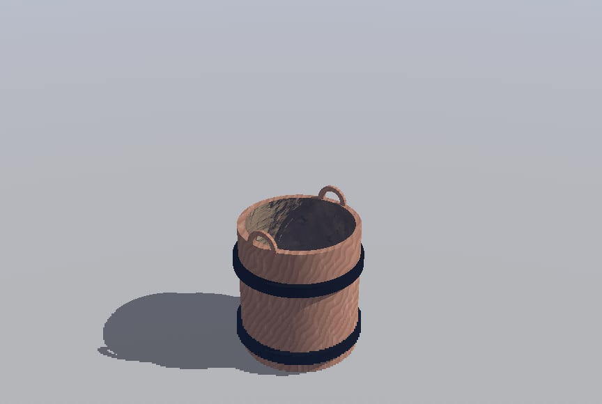 3d 3ds wooden bucket