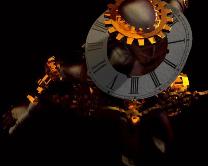 maya rigged character clockman clock