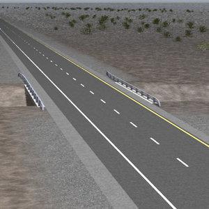 3d lwo 2 lane highway bridge