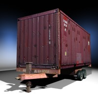 3d single cargo container trailer model