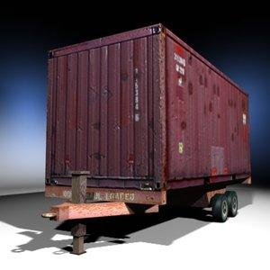 3d single cargo container trailer model