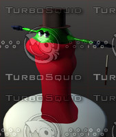 3d lady green cartoon model