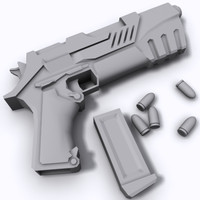 science fiction pistol 3d model