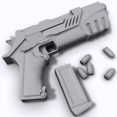 science fiction pistol 3d model