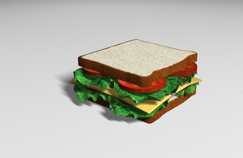 3d model cheese sandwich