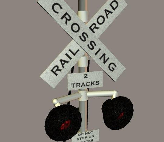 railroad crossing signal 3d 3ds