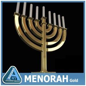 3ds golden menorah